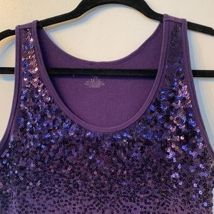 Purple Sequin Tank Top